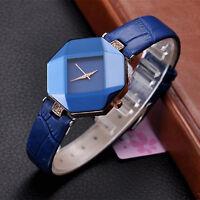 Fashion Women's Ladies Crystal Watches Leather Strap Analog Quartz Wrist Watch