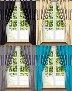 """CURTAINS 66"""" X 72"""" BLACK CREAM TEAL SILVER EYELET FULLY LINED READY MADE MICROFI"""