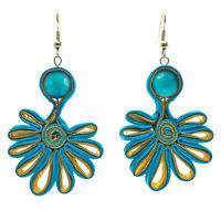 Boucles D'oreilles femme bleu et lignes dorées tissu pierre style turquoise