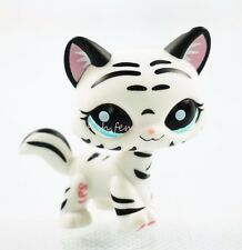 Black & White Striped Cat Blue Eyes Hasbro Littlest Pet Shop LPS  Toys #1498