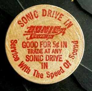 VINTAGE SONIC DRIVE IN 50¢ IN TRADE AT ANY SONIC WOODEN NICKEL