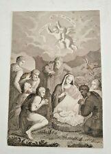 Antica Incisione su carta Natività Adorazione XIX secolo