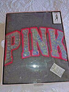 Victoria's Secret Pink Bling Iridescent Campus Pullover + Leggings NIB Black S/P