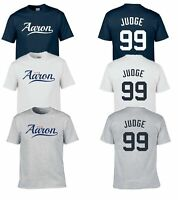 NEW AARON JUDGE #99 TEAM CUSTOM LOGO PLAYER NAME & NUMBER JERSEY T-SHIRT