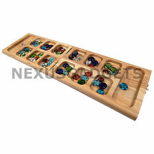 Vudo Mancala Game Set Solid Wood Folding Board Gemstone Pieces Kids Classic Fun
