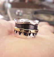 925 Sterling Silver Spinner Ring Wide Band Statement Ring Meditation Ring sr5970