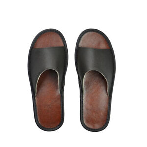 Genuine Leather Summer Women Men House Shoes Indoor Flats Slippers Home Sandals