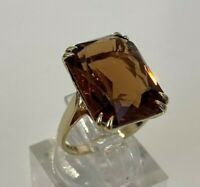 9ct solid gold & smoky Quartz ring 5.20g size O 1/2 -  7 1/4
