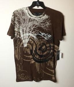Adiktd Brown Cotton Men's T-Shirt Tree Print size S/M/L/XL  NWT