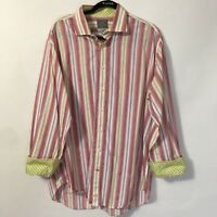 THOMAS DEAN XL Mens Casual Shirt Striped Long Sleeve Contrast Flip Cuff Red Pink