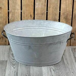 Zinc Metal Extra Large Oval Garden Planter with Handles NEW