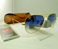 RAY-BAN RB3025 001/3F GOLD FRAME LIGHT BLUE GRADIENT AVIATOR SUNGLASSES 58MM NEW