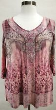 ONE WORLD WOMEN'S PINK EMBELLISHED PRINTED 3/4 SLEEVE TOP PLUS Sz 3X