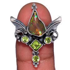Angel Wings - Ethiopian Opal Rough & Peridot 925 Silver Ring s.5.5 AR160246