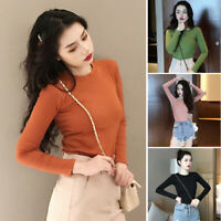 Ladies Polyester Tops Slim Long Sleeve Shirt Winter Casual Plus Size Tee Travel