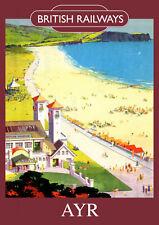 AYR Vintage British Railways Poster (repro) - Seaside / landmarks A4