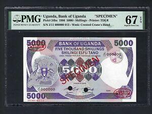 Uganda 5000 Shillings 1986 P24bs Specimen Uncirculated Graded 67