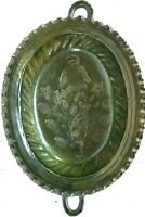 Antique Redware Bald Eagle Green Glaze Pottery Mold Serving Bowl Platter Dish