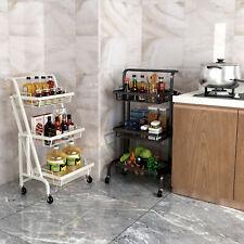 3 Tier Metal Rolling Utility Cart Folding Kitchen Library Trolley Storage Shelf
