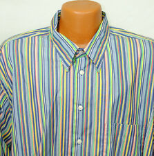Paul Fredrick Size XXL Long Sleeve Striped Shirt Button Front Blue Green Yellow