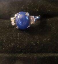 Ring   White Gold   Cabochon   Blue Star Sapphire   Diamond    14k   ZISE 6