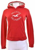 HOLLISTER Womens Hoodie Jumper Size 10 Small Red Cotton  MR02