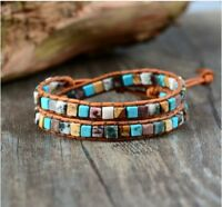 Women Leather Bracelets Boho Mix Natural Stones 2 Strands Wrap Bracelets