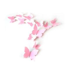 12pcs 3D Light Pink Plastic Butterflies Art Decal Home Fashion Decor Wall Crafts