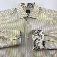 IKE BEHAR Mens Button Front Shirt Yellow White Stripe Long Sleeve Cotton 16.5-L
