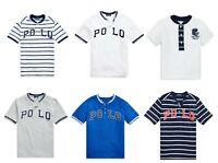 Ralph Lauren Polo Boys White Blue Round Crew Neck Henley T shirt Top  4 5 6 8 10