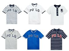 Ralph Lauren Polo Boys White Blue Round Crew Neck Henley T shirt Top  4 5 6 8 10
