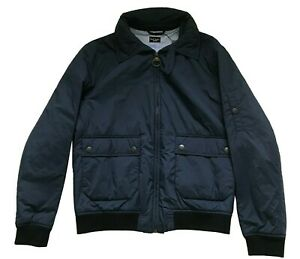 Paul Smith LONDON Jacket Navy Blue Quilted Bomber Jacket with concealed Hood