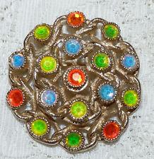 Nice Vintage SARAHCOV Fruit Salad Multicolored Rhinestone Brooch/Pin  EE60