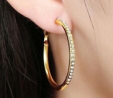 "24K Gold Filled 2"" Hoop Earrings made with Swarovski Crystals"