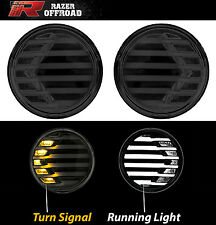 Black+Smoke lens+Turn Signal LED Light+Running Light Fit 07-17 Jeep JK Wrangler