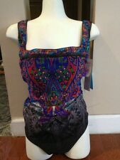 GOTTEX *NWT* FOLKLORE PAISLEY PRINT ONE PIECE SWIMSUIT~SIZE 14  13FO-172