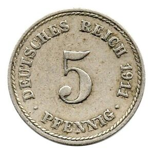 KM# 11 - 5 Pfennig - Wilhelm II - Germany 1911 A (F)