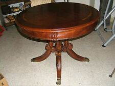 """Vintage ROUND Center Table with BRASS Feet Mahogany DUNCAN PHYFE STYLE 36"""" WIDE"""