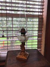 "Antique 20 1/2"" Metal Cherub Oil Lamp W/wick"