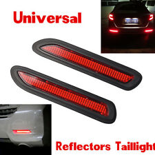 Pair 5W Car Red Lens LED Bumper Reflectors Taillight Brake Fog Warning Light