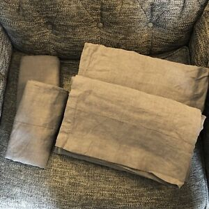 Restoration Hardware Stonewashed Belgian Linen King Sheet Set, Graphite
