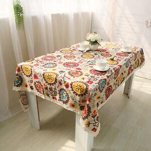 Cotton Linen Boho Table Cloth Rectangle Dining Table Cover Kitchen Home Decor