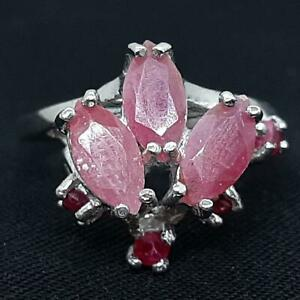 World Class 2.00ct Mozambique Ruby Marquise & Round Cut 925 Silver Ring Size 6.5