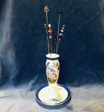 Vintage Limoges China Porcelain 7� Hat Pin Holder w/ 7 Hat Pins