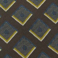 Pronto-Uomo Made In Italy Squares Dots Brown Gold Blue Silk Necktie Tie Z2-152