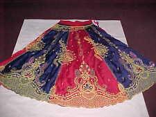 NAVY Blue GOLD MASMERIZING Skirt LENGHA Sari BELLY BALLROOM DANCE Skirt GHAGHRA