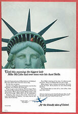 1966 Ad ~UNITED AIR LINES Airlines~Boy Looks out from crown of Statue of Liberty