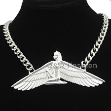 Egyptian Goddess Isis Ankh Wing Chunky Silver Curb Chain Necklace Wicca Pagan