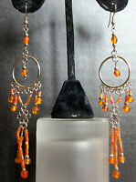 Orange Peach Coral Blush Dangle Chandelier Earrings Unique Handmade Long Drop A