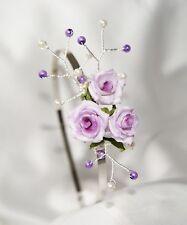 Handmade Brides Bridesmaid Prom Lilac Purple pearl Flower  Side tiara Fascinator